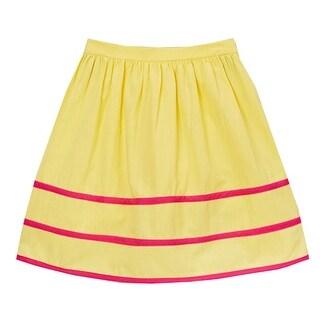 Girls Yellow Fuchsia Stripe Detailed Cotton Trendy Skirt 7-10
