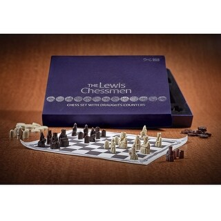 Lewis Chessmen Chess Set - Based on Pieces from the National Museum of Scotland - Blue