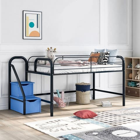 Low Loft Twin Metal Bed with Two Storage Steps, Black with Blue Steps