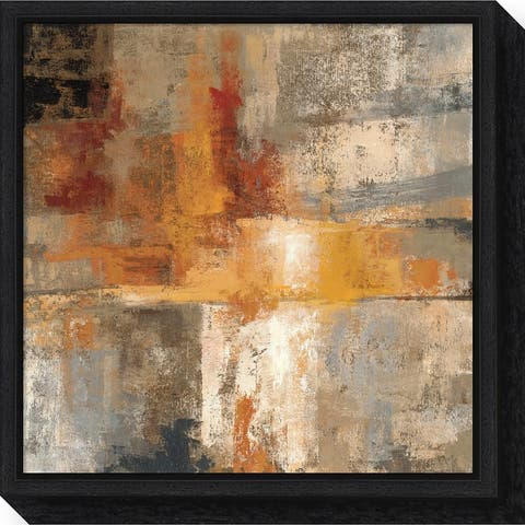 Canvas Art Framed 'Silver and Amber Crop' by Silvia Vassileva