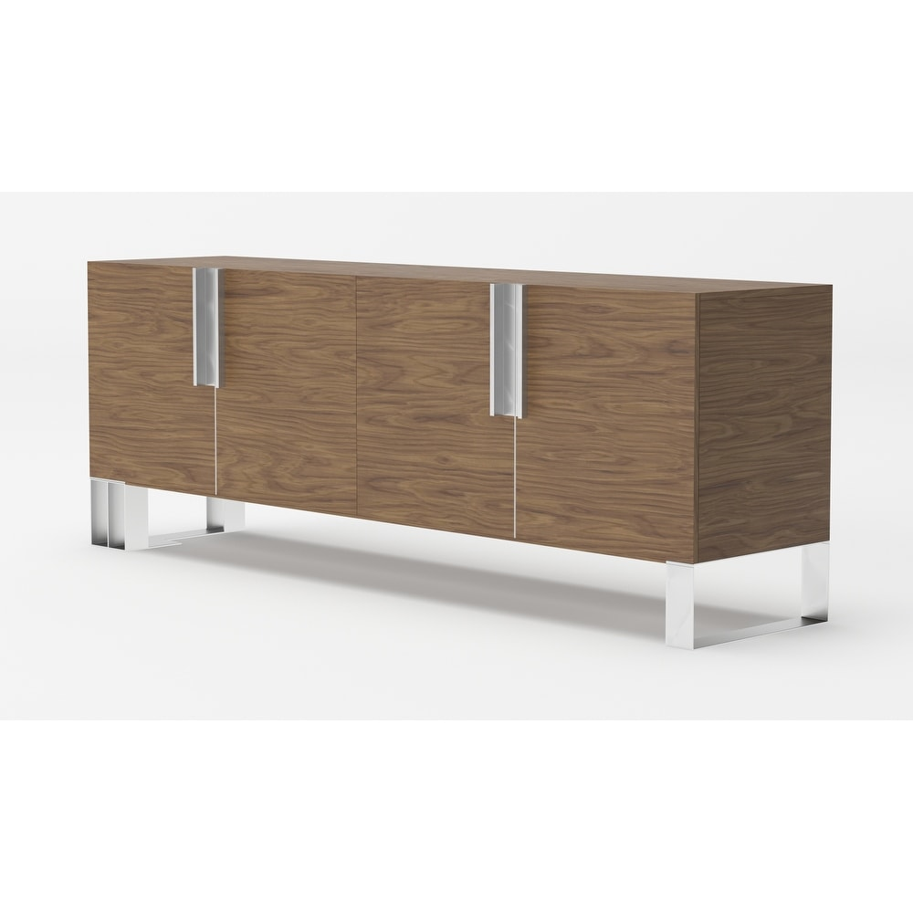 Modrest Gilroy Modern Walnut & Stainless Steel Buffet