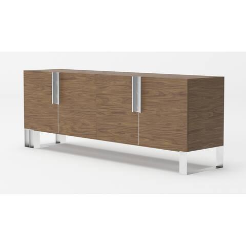 Modrest Gilroy Modern Walnut & Stainless Steel Buffet