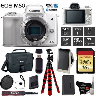 Canon EOS M50 Mirrorless Digital Camera (White, Body Only) + 16GB Class 10 Memory Card + Canon Camera Case - Intl Model