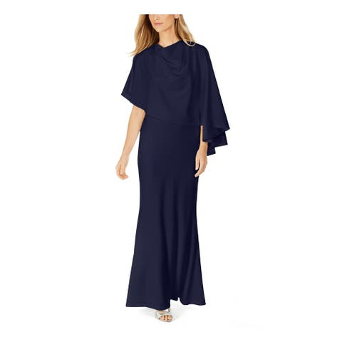 CALVIN KLEIN Blue Sleeveless Full-Length Sheath Dress Size 12