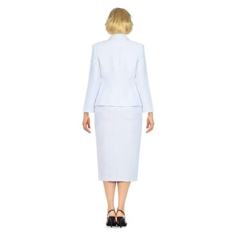 Giovanna Collection 2pc Notch Collar Classic Brocade Skirt Suit