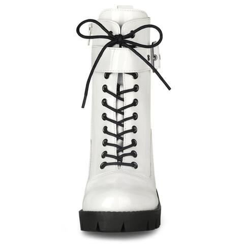 Allegra K Women's Zip Platform Chunky Heel Combat Boots