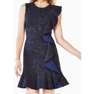 BCBGMaxAzria NEW Blue Womens Size 2 Ruffled Textured Sheath Dress