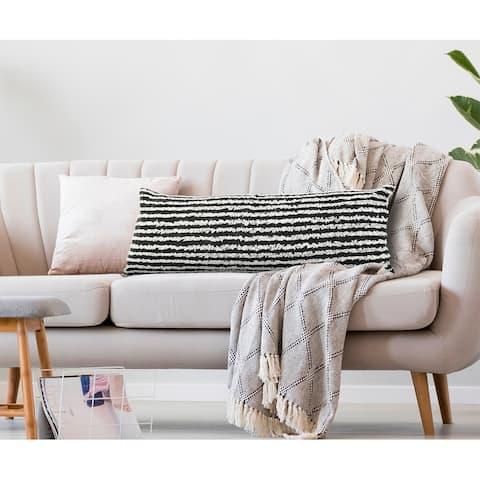 Black Wispy Ways Throw Pillow