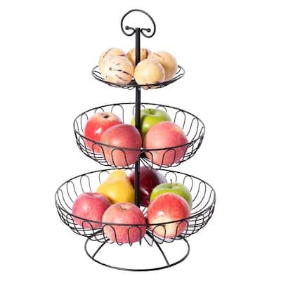 3 Tiers Wire Iron Basket Fruit Bowl, Black