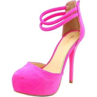 Qupid Bar-22 Women Open Toe Synthetic Pink Platform Heel