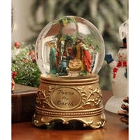 """Pack of 2 Inspirational """"Peace on Earth"""" Nativity Christmas Water Globes 5.3"""" - GOLD"""