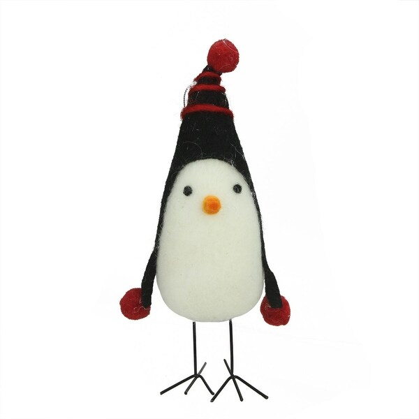 "8"" Red and Black Felt Bird with Winter Hat Decorative Christmas Ornament"