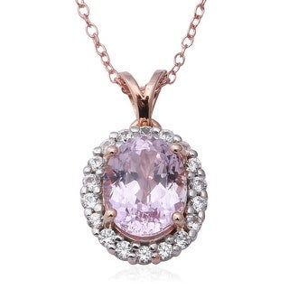 Link to Sterling Silver Kunzite Zircon Pendant Necklace Size 18 Inch Ct 4.2 - Size 18'' Similar Items in Necklaces