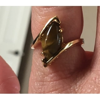 Marquise-Shaped Genuine Tiger's-Eye 14k Yellow Gold-Plated Cocktail Ring Naturalist
