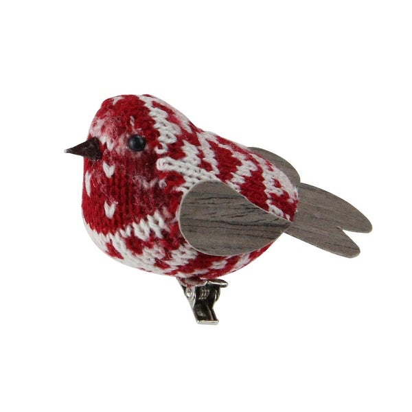 "3.5"" Retro Christmas Red and White Decorative Knit Bird Clip-On Ornament"