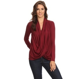Women's Burgundy Long Sleeve Criss Cross Cardigan Small to 3XL Made in USA