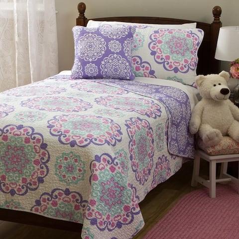 Design Studio Cozy Vivian Cotton Lilac Pink 4 PC Reversible Quilt Set