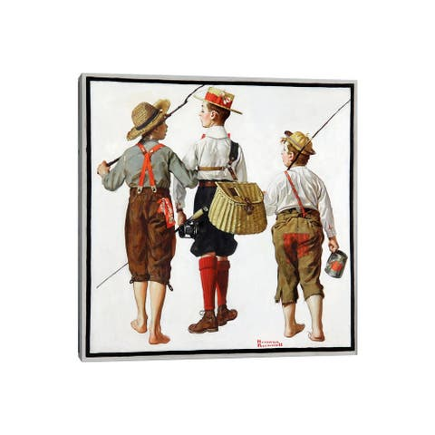"""iCanvas """"The Fishing Trip"""" by Norman Rockwell Canvas Print"""