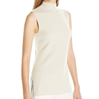 Calvin Klein NEW Ivory Women's Small S Ribbed Mock Neck Sweater Vest