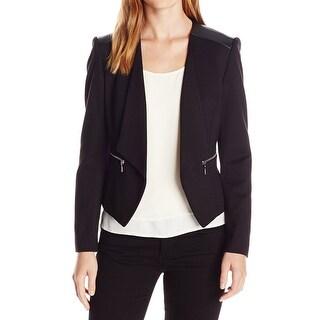 Nine West NEW Black Women's Size 8 Faux Leather Zip Pocket Jacket