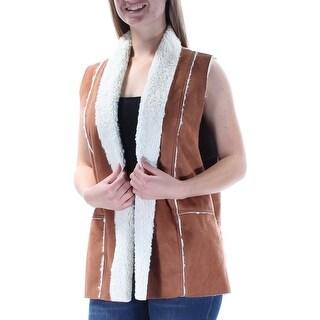 KAREN KANE $128 Womens New 1415 Brown Faux Suede Sleeveless Vest Top M B+B