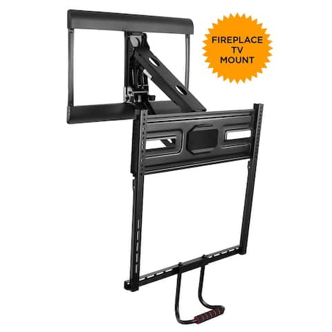 Mount-It! Pull Down TV Mount for Fireplace Mantel Installation, Fits 43-70 Inch TVs - MI-364 - black