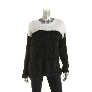 Aqua Womens Eyelash Colorblock Pullover Sweater