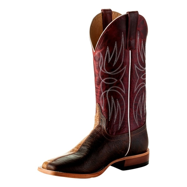 Horse Power Western Boots Mens Two Face Leather Tabs Tan Brown