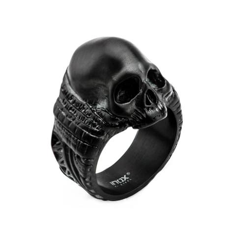 Inox Stainless Steel Black IP Matte Finish Skull Ring. Available sizes 9 - 12