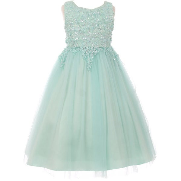 Flower Girl Dress Pearl Sequin Bodice Tulle Satin Skirt Mint CC 5008