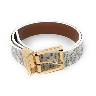 Michael Kors Women's 30mm Reversible MK Logo Leather Belt 553751C, Vanilla