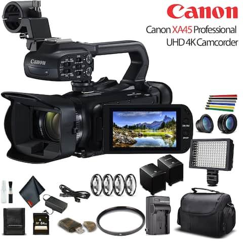 Canon XA45 Professional UHD 4K Camcorder W/ Extra Battery - Advanced Bundle