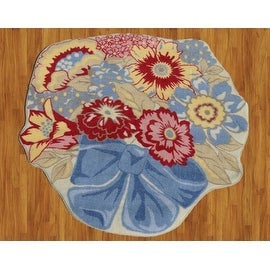 "Glenna Jean Chantilly Flower Children Rug Multi-Color Red Blue Beige Yellow Base Color Kids Rug Children's (39""X39"" Inches)"