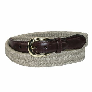 Rogers-Whitley Men's Cotton with Leather Trim Braided Belt
