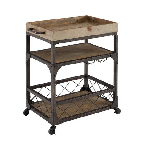 Wood and Metal 3 Level Bar Cart with Caster Wheels and Side Handle, Brown