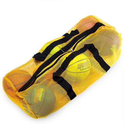 """39"""" Mesh Sports Ball Bag with Strap, Yellow"""