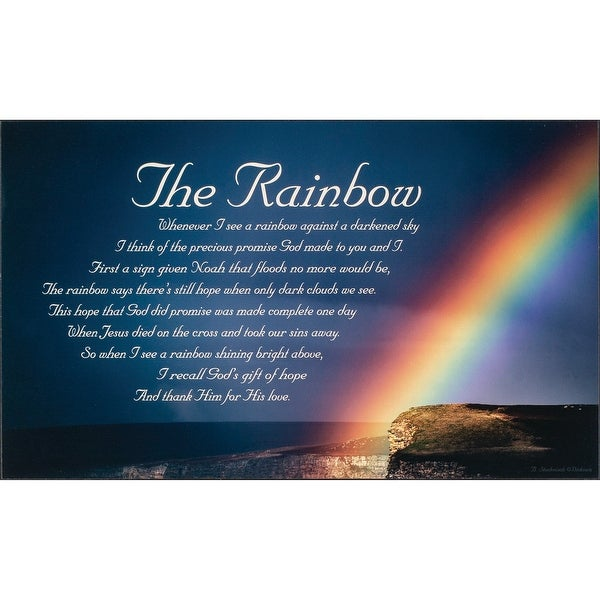 """19.8"""" Blue and White Rainbow Rectangular Wall Plaque - N/A"""