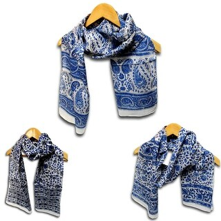 Sheer Soft Cotton Block Print Floral Paisley Scarf for Women Neck Head Scarf Stole - 15 x 72 inches