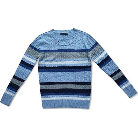 Karen Scott Womens Crewneck Sweater Cotton Cable Knit - Light Blue Heather Combo