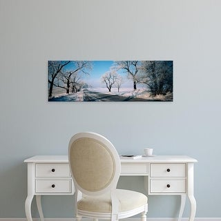 Easy Art Prints Panoramic Images's 'Road passing through winter fields, Illinois, USA' Premium Canvas Art