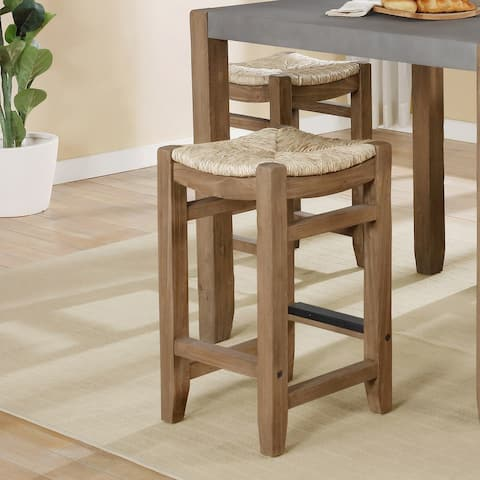 The Gray Barn Enchanted Acre 26-inch Wood Counter Height Stools with Rush Seats (Set of 2)