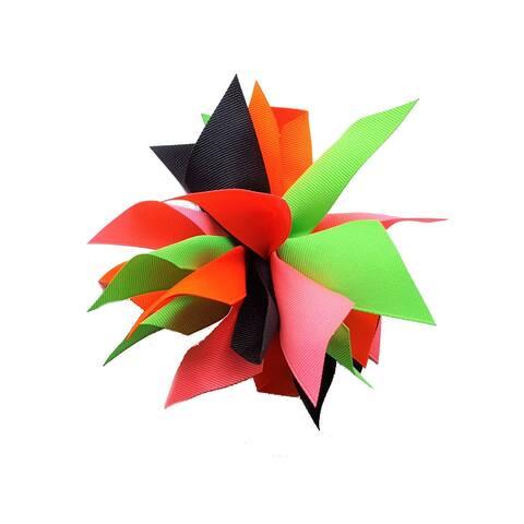 Promarx Girls Multi Colors Neon Shades Extra Large Petaled Ponytail Holder - One Size