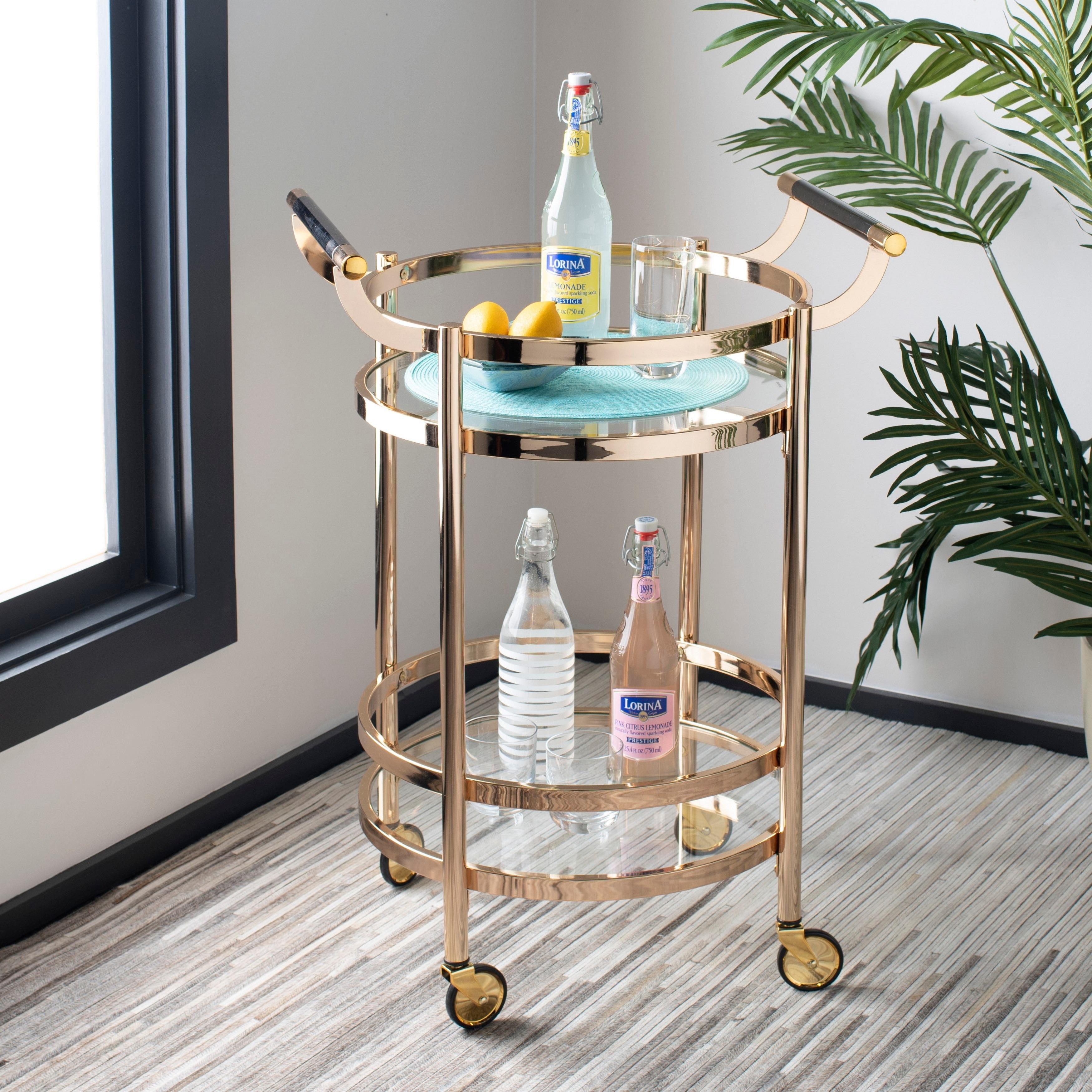 Safavieh Sienna 2 Tier Round Bar Cart Gold Glass 23 8 X 19 9 X 34 On Sale Overstock 23591334