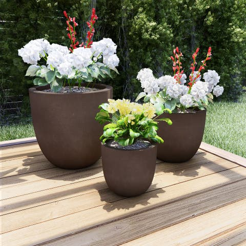 Round Fiber Lightweight Clay Planters by Pure Garden (Set of 3)