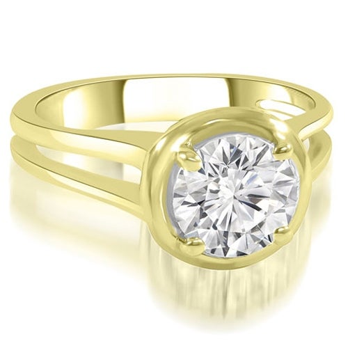 0.50 cttw. 14K Yellow Gold Split Shank Halo Round Diamond Engagement Ring