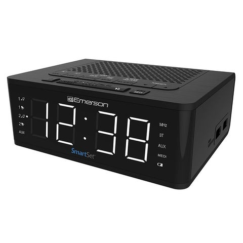 Emerson Smartset Alarm Clock Radio With Bluetooth Speaker, Charging Station With 2 Usb Ports For Iphone/Ipad/Ipod/Androi