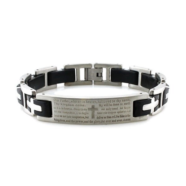 Stainless Steel Lord's Prayer Black Rubber Inlay Link Bracelet - 8.5 inches
