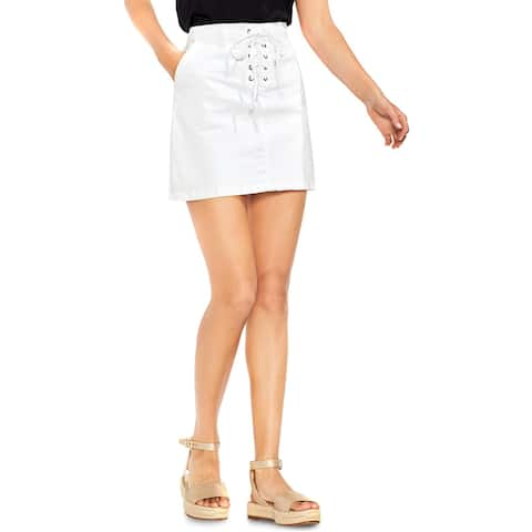 Vince Camuto Womens Mini Skirt Denim Lace-Up