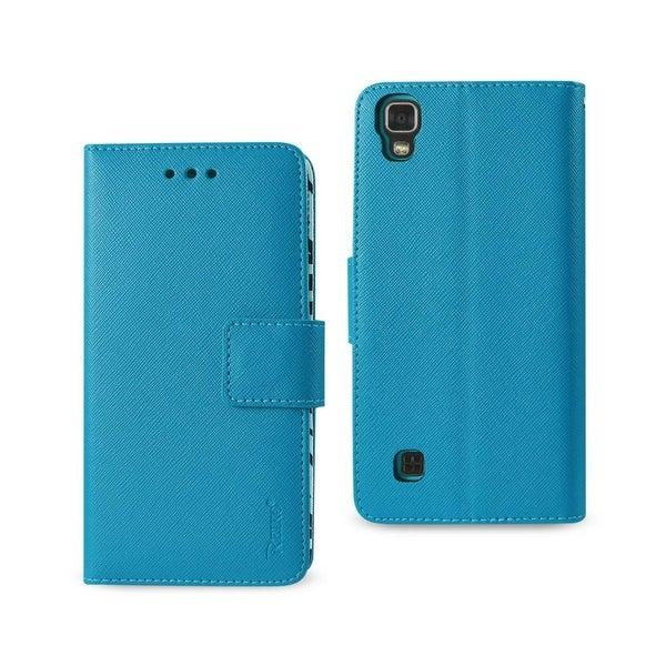 REIKO LG X POWER/K6 WALLET CASE WITH INNER ZEBRA PRINT IN BLUE