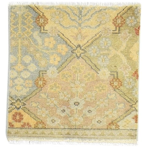 One of a Kind Hand-Knotted Persian 2' Square Oriental Wool Gold Rug - 2' Square
